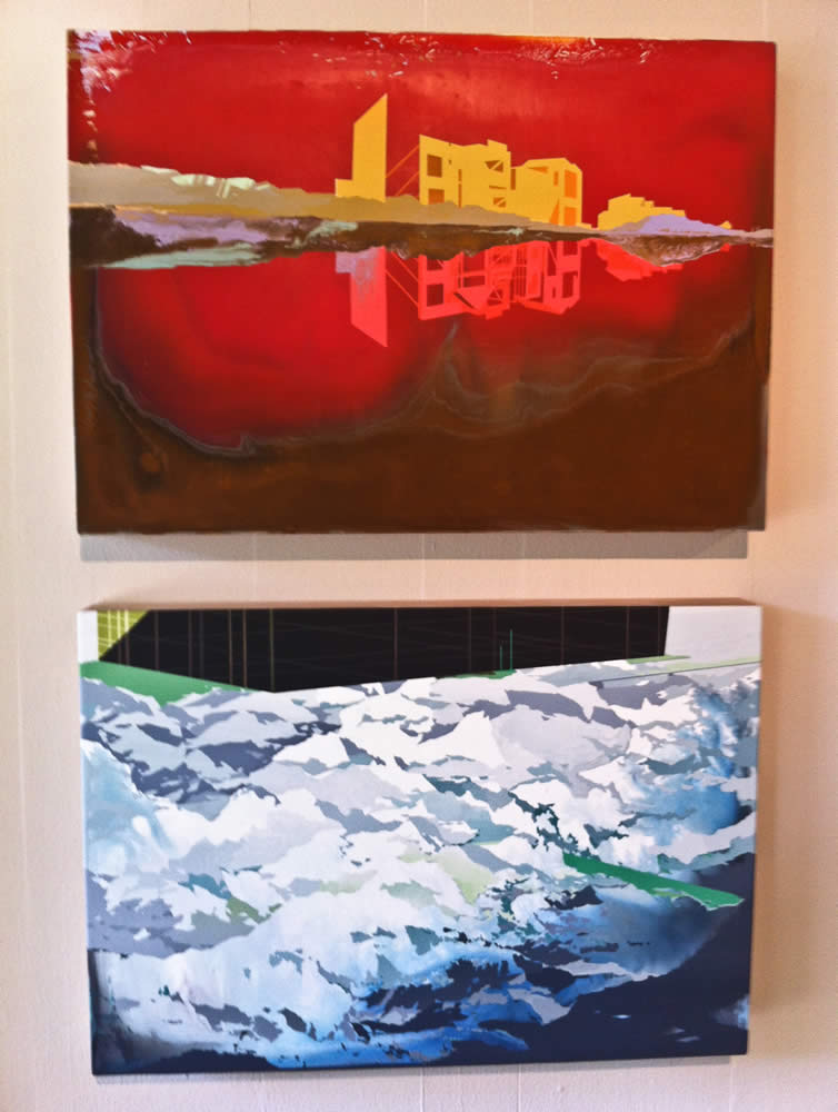 Top - <i>Model Community</i>, (2012) Bottom - <i>Alpine Encroachment</i>, (2012) William Swanson 14x20 inch acrylic on panels